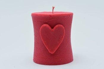 Świeca wolno stojąca z wosku sojowego serce różowa