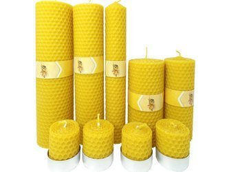 Zestaw dziewięciu ekologicznych świec ręcznie zawijanych z wosku pszczelego