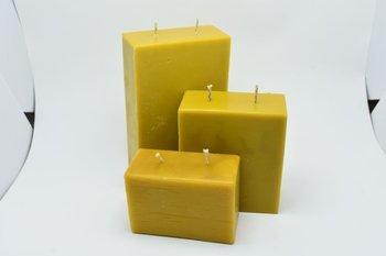 Zestaw trzech świec z wosku pszczelego 2 knoty