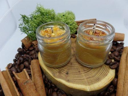 Ekologiczna świeca 3 szt. w słoiku z wosku pszczelego z bursztynem