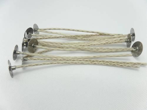 Knoty bawełniane z blaszkami knoty 10 cm 20 szt.