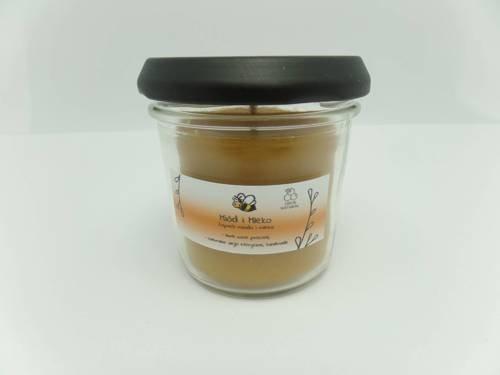 Świeca w słoiku z wosku pszczelego miód i mleko 120 ml