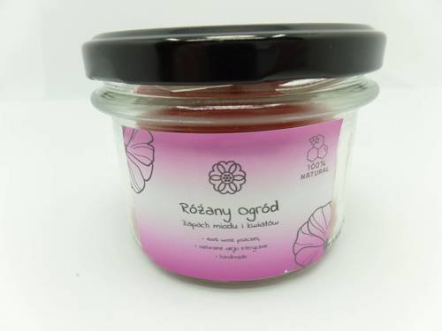 Świeca w słoiku z wosku pszczelego różany ogród 235 ml